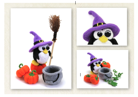 Halloween patterns, crocheted penguin toy, amigurumi penguin pattern by mashutkalu