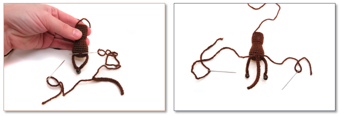 Пришивание частей вязаной игрушки МК